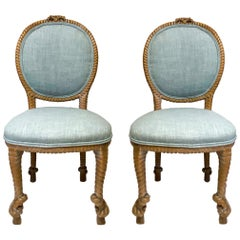 1960s Regency Style Carved Oak Rope Side Chairs by Baker Furniture, a Pair