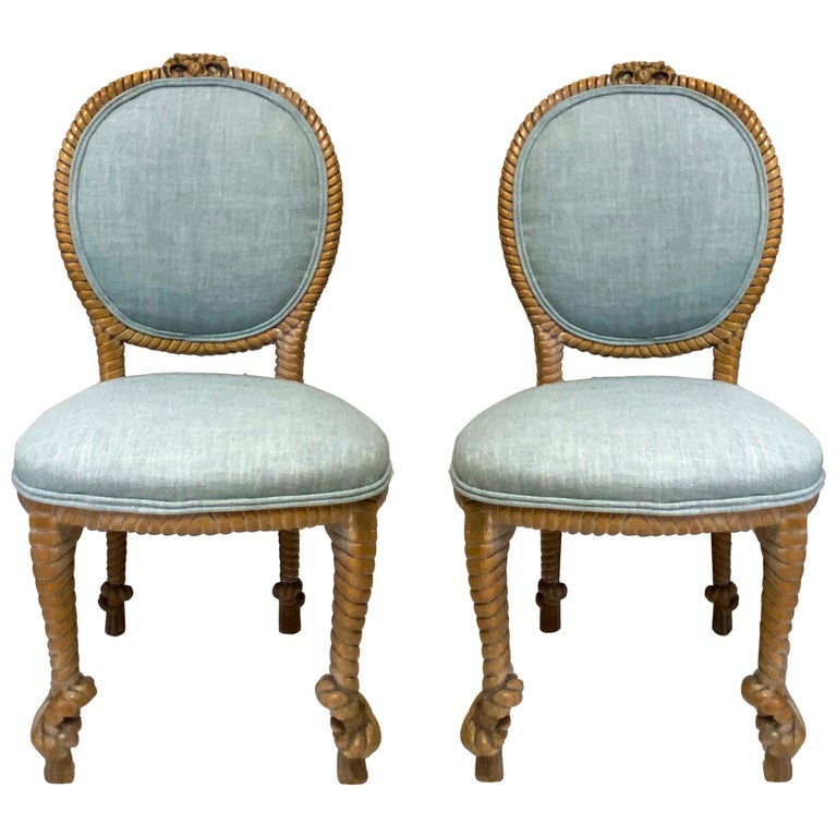 1960s Regency Style Carved Oak Rope Side Chairs by Baker Furniture, a Pair For Sale