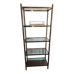 1960s Regency Style Vintage Solid Brass Etagere with Glass Shelves
