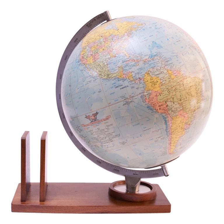 1960s Replogle 'Comprehensive' Illuminated Globe on Walnut Base