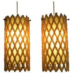 1960s Resin Crystal Lattice Pendants