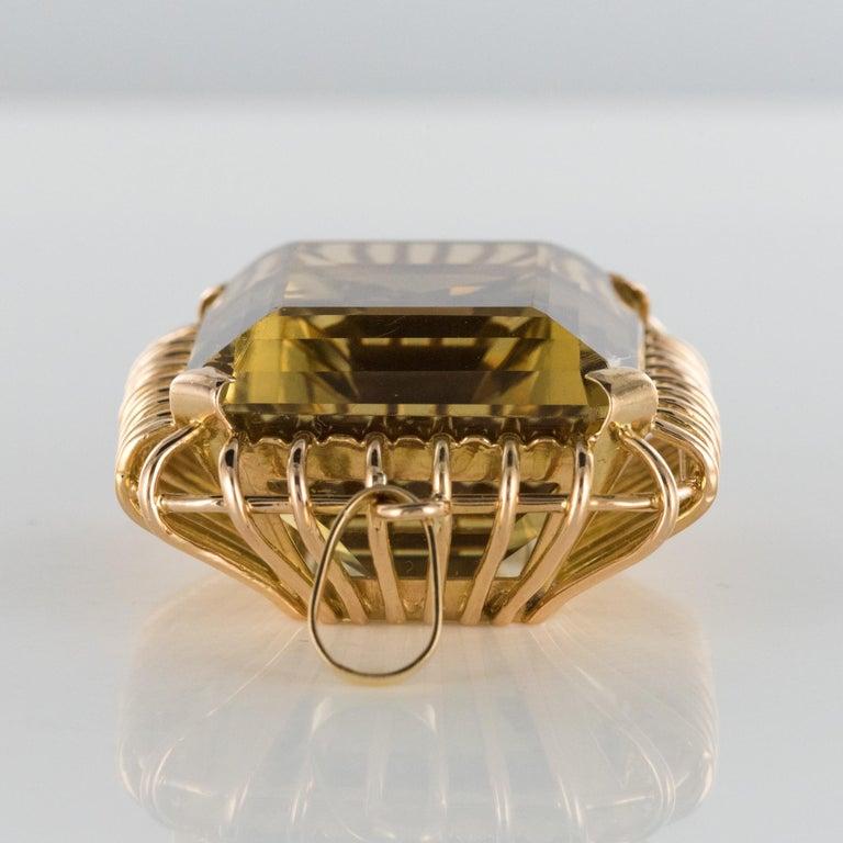 1960s Retro 125 Carats Citrine 18 Karat Rose Gold Pendant For Sale 5
