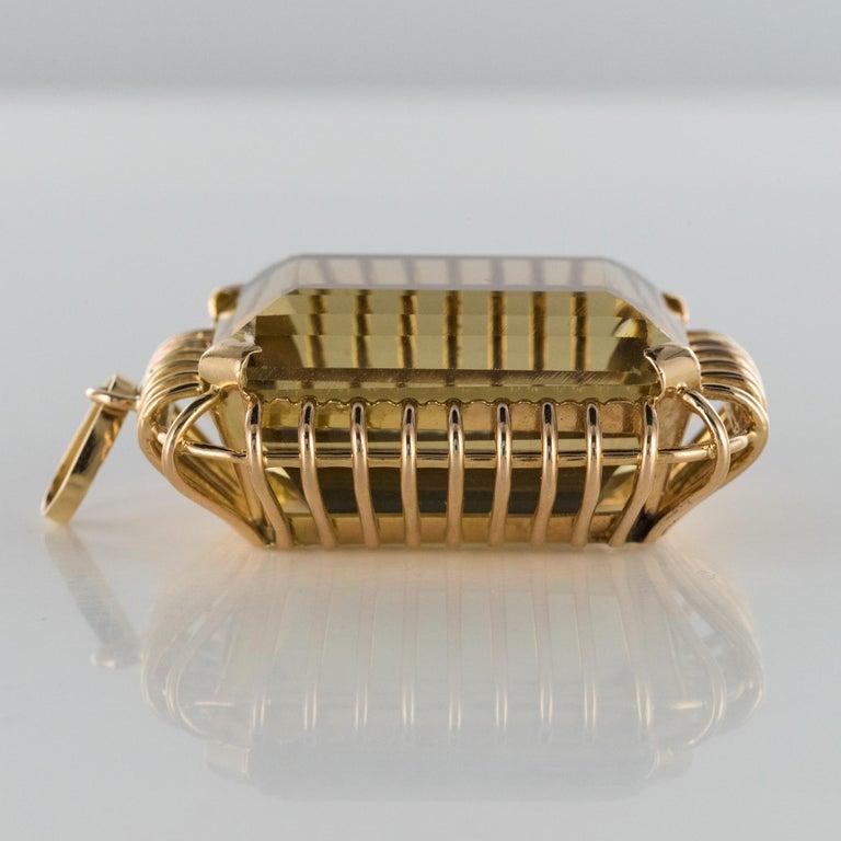 1960s Retro 125 Carats Citrine 18 Karat Rose Gold Pendant For Sale 6