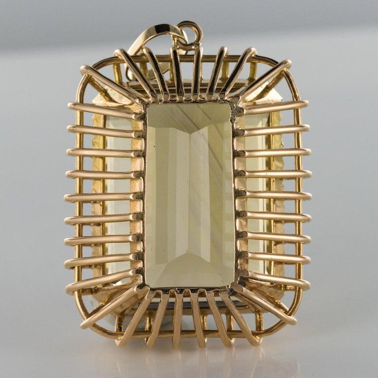 1960s Retro 125 Carats Citrine 18 Karat Rose Gold Pendant For Sale 8