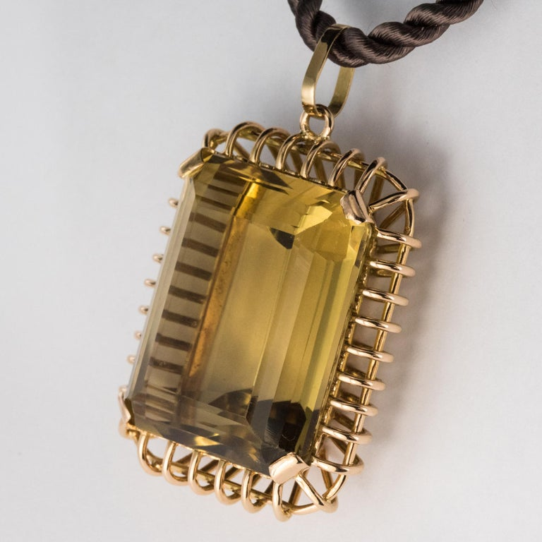 1960s Retro 125 Carats Citrine 18 Karat Rose Gold Pendant In Good Condition For Sale In Poitiers, FR
