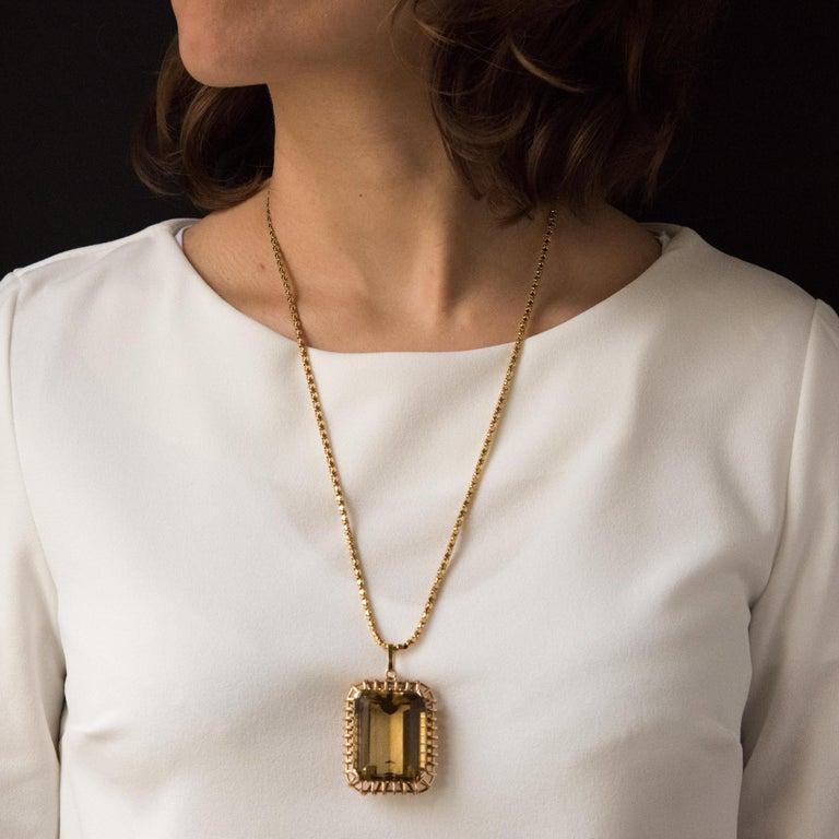 Women's 1960s Retro 125 Carats Citrine 18 Karat Rose Gold Pendant For Sale