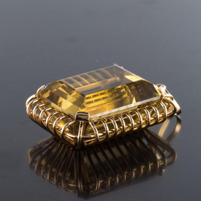 1960s Retro 125 Carats Citrine 18 Karat Rose Gold Pendant For Sale 3