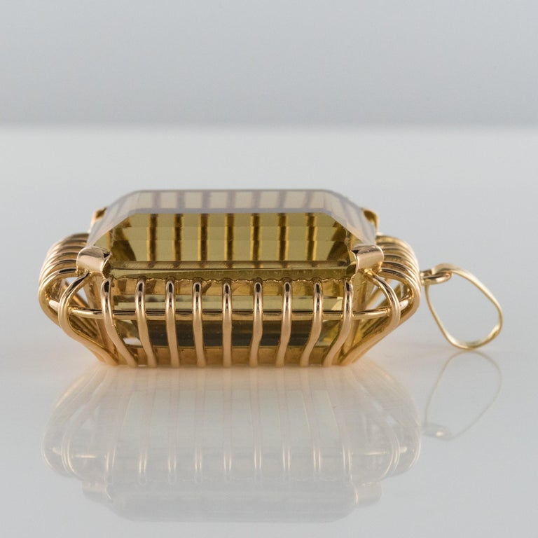 1960s Retro 125 Carats Citrine 18 Karat Rose Gold Pendant For Sale 4