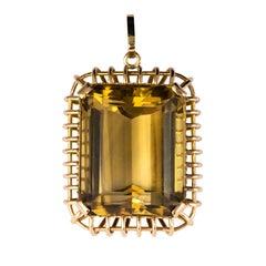 1960s Retro 125 Carats Citrine 18 Karat Rose Gold Pendant