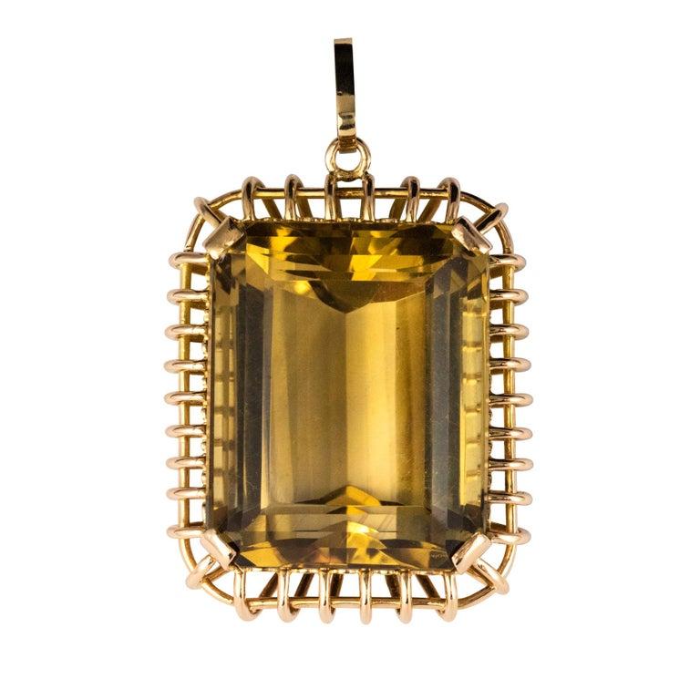 1960s Retro 125 Carats Citrine 18 Karat Rose Gold Pendant For Sale