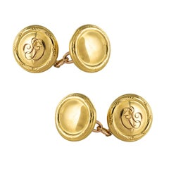 1960s Retro 14 Karat Yellow Gold Round Shape Cufflinks