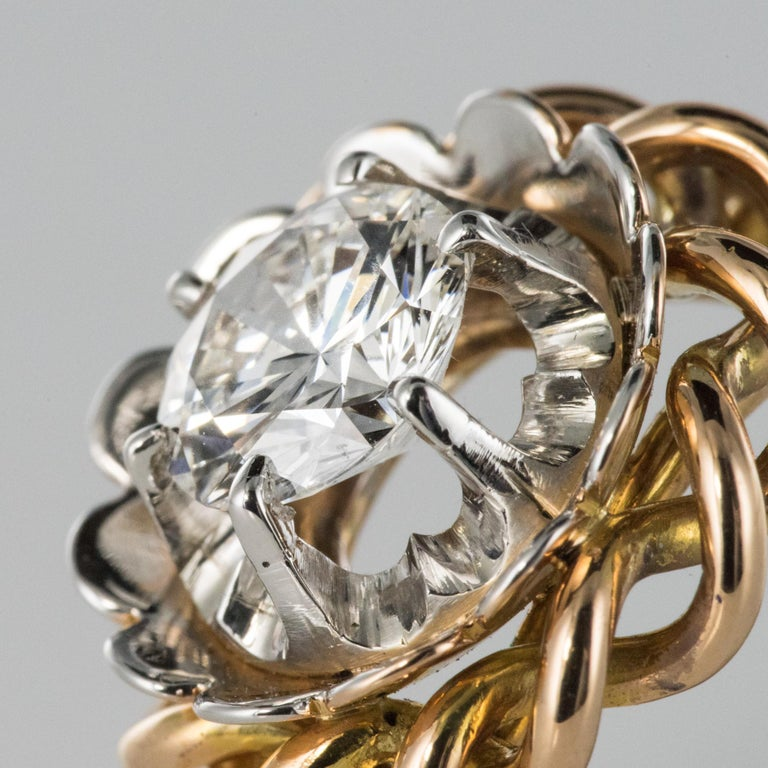 1960s Retro 2.06 Carat Diamond Solitary Ring For Sale 6