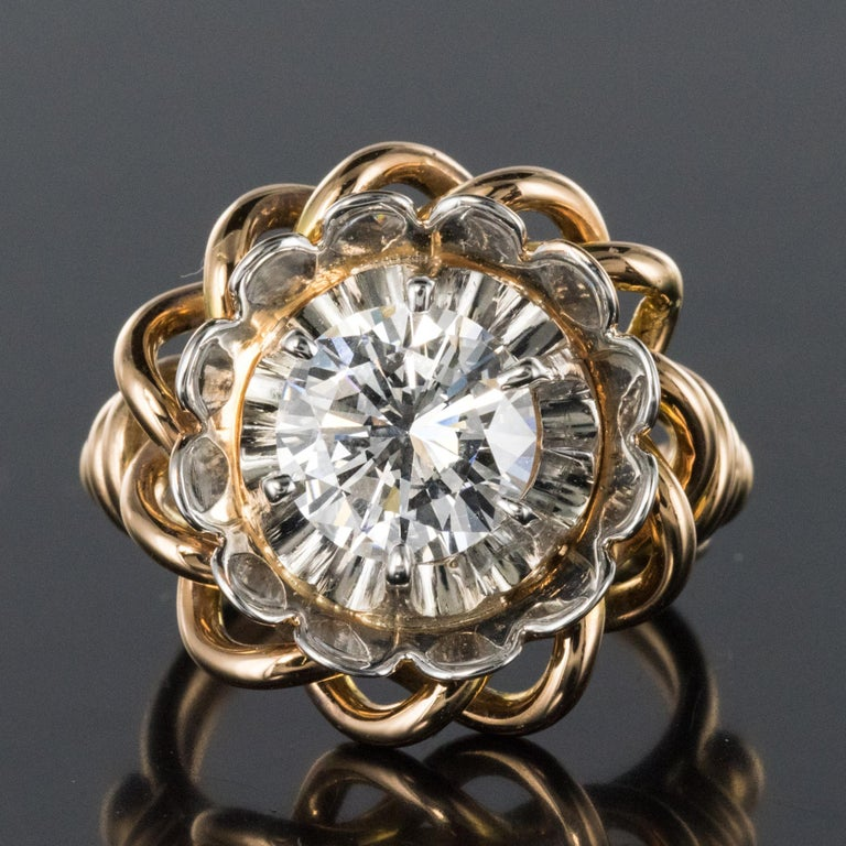 1960s Retro 2.06 Carat Diamond Solitary Ring For Sale 10