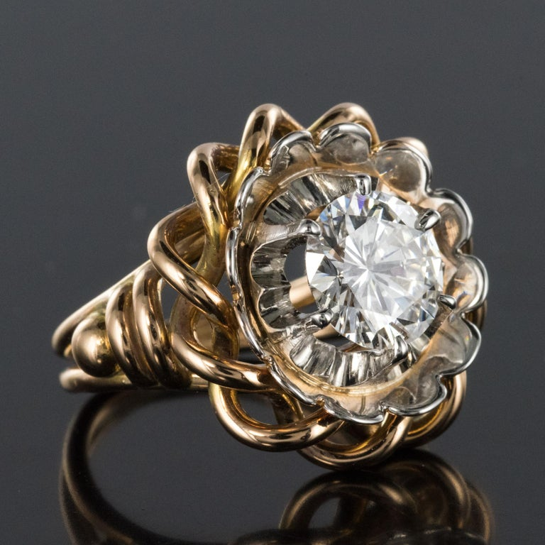 1960s Retro 2.06 Carat Diamond Solitary Ring For Sale 11