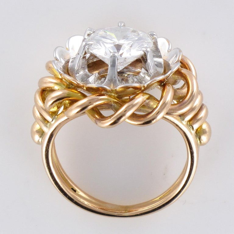 1960s Retro 2.06 Carat Diamond Solitary Ring For Sale 12