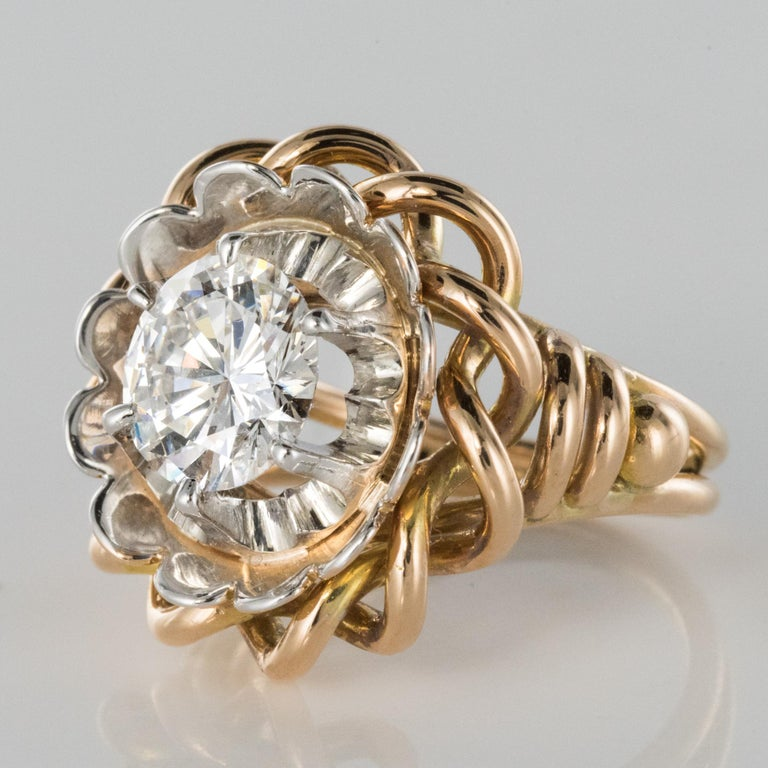 1960s Retro 2.06 Carat Diamond Solitary Ring In Excellent Condition For Sale In Poitiers, FR
