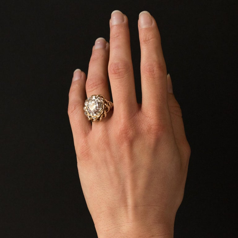 Women's 1960s Retro 2.06 Carat Diamond Solitary Ring For Sale