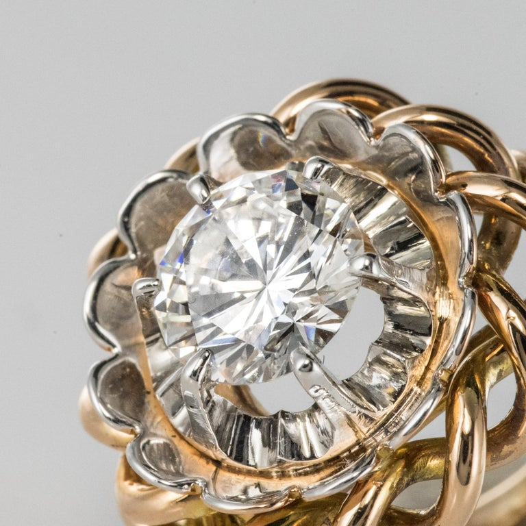 1960s Retro 2.06 Carat Diamond Solitary Ring For Sale 5