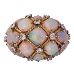 1960s Retro Australian Opal Diamond 18 Karats Gold Domed Ring