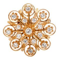 1960's Retro Diamond 14K Yellow Gold Open Flower Brooch Pin Pendant