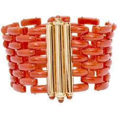 1960s Retro Red Coral Tank Track 18 Karat Gold Bracelet