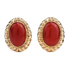 1960's Retro Red Coral Yellow Gold Clip On Earrings