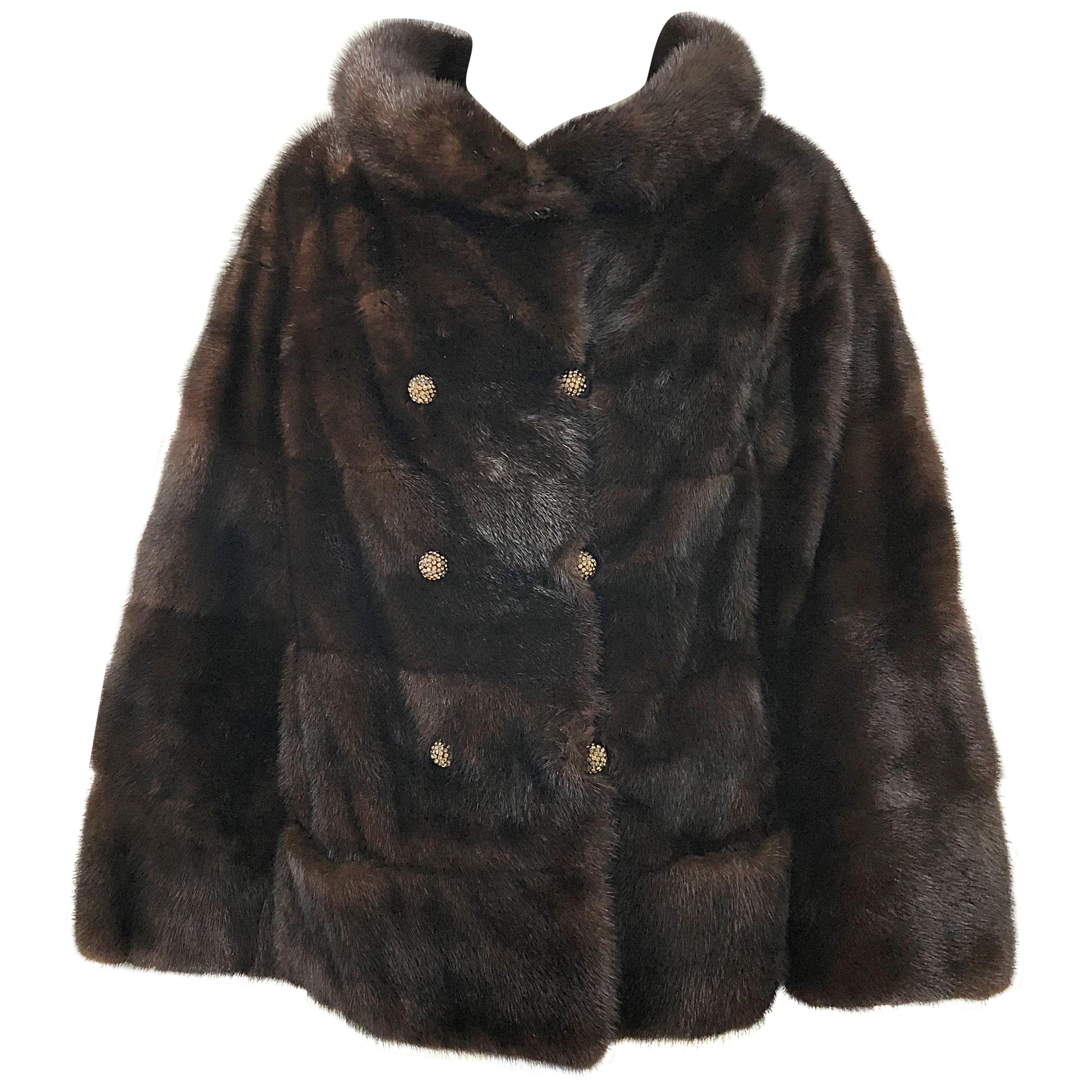 1960s Revillon Mink Mahogany Brown Female Pelt Vintage 60s Jacket Rhinestones