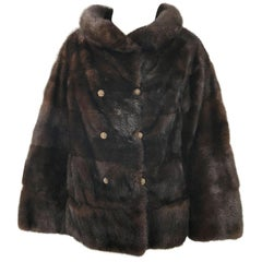 1960s Revillon Mink Mahogany Brown Female Pelt Vintage 60s Jacket Rhinestones