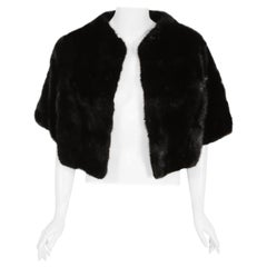 1960's Revillon Paris Couture Black Diamond Mink Fur Cropped Bolero Jacket