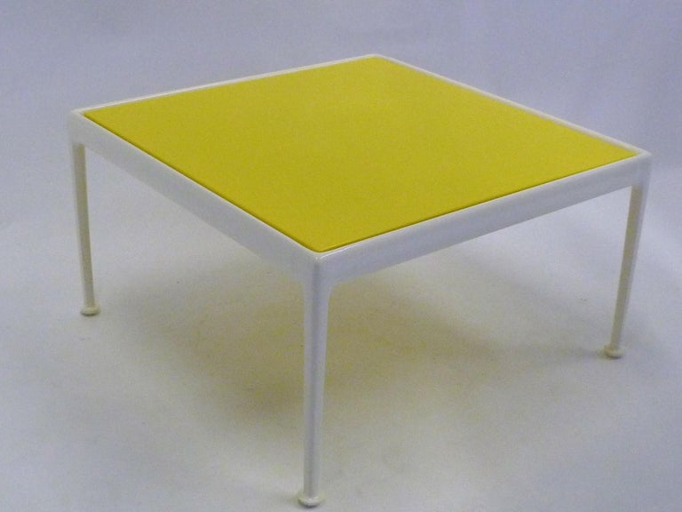 Classic Richard Schultz table design for Knoll. Designed for outside use and great for the inside as well. Bright, crisp and sunny yellow over a white lacquered base. Re-lacquered and newly powder coated top. New glides as well. Slight separation