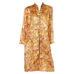 1960S Richilene Gold & Pink Rayon/Lurex Lamé Chinoiserie Opera Coat With Crysta