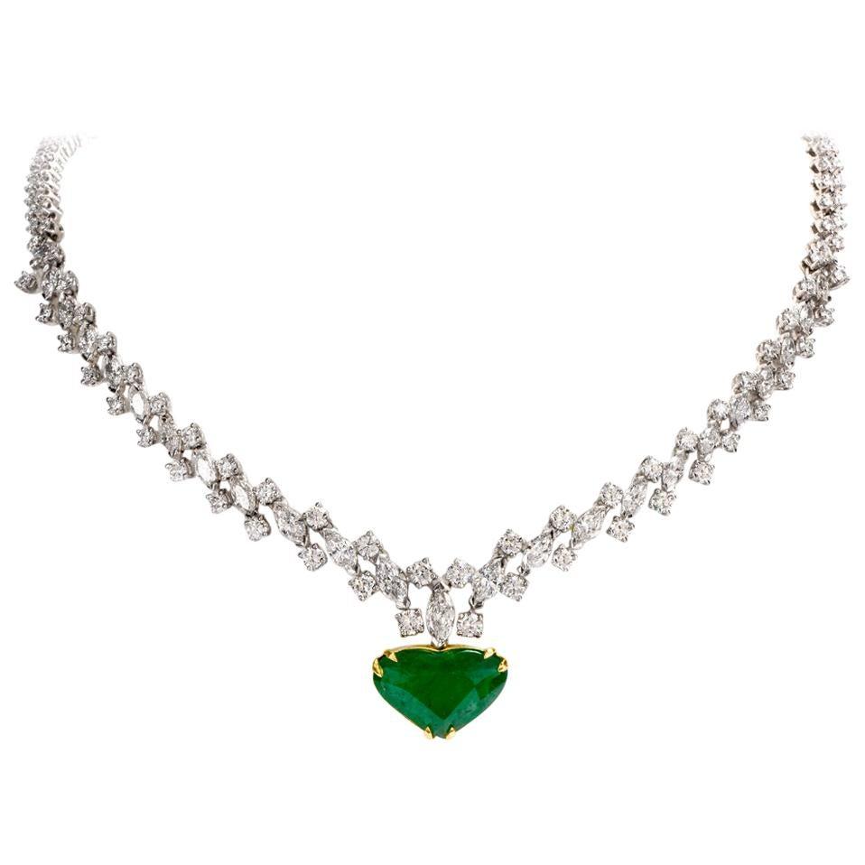 1960s Riviera Diamond GIA Heart Emerald Gold Necklace