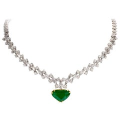 1960s Riviera Diamond Emerald Heart Platinum Necklace