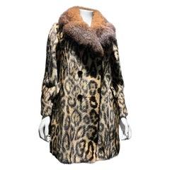 1960s Robert Meshekoff Faux Leopard Double Breasted Coat W/ Possum Fur Collar