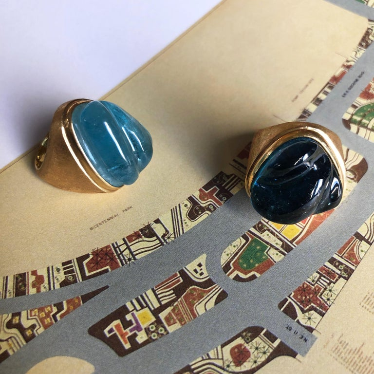 1960s Roberto and Haroldo Burle Marx Forma Livre Carved Tourmaline and Gold Ring In Excellent Condition In New York, NY
