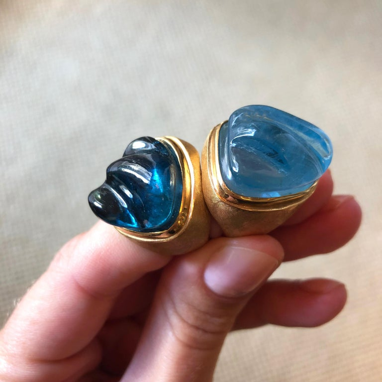 Women's or Men's 1960s Roberto and Haroldo Burle Marx Forma Livre Carved Tourmaline and Gold Ring