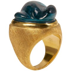1960s Roberto and Haroldo Burle Marx Forma Livre Carved Tourmaline and Gold Ring