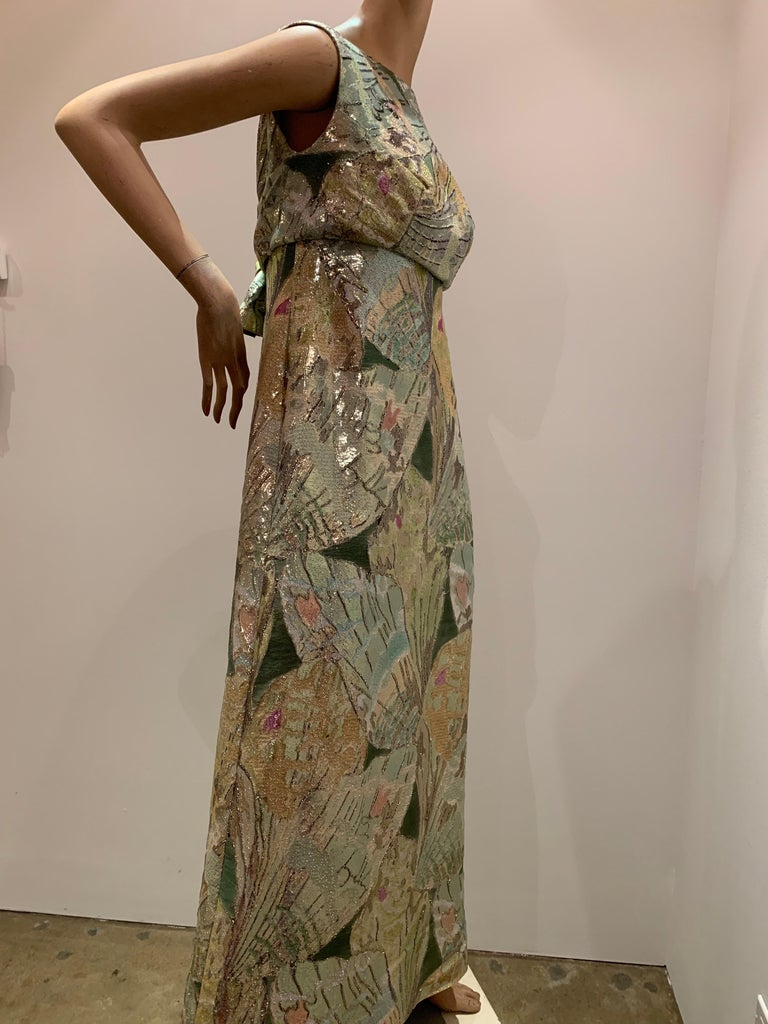 1960s Rochá  Butterfly Wing Patterned Lamé Brocade Empire Evening Gown W/ Bow For Sale 9