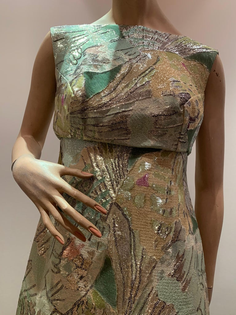 Women's 1960s Rochá  Butterfly Wing Patterned Lamé Brocade Empire Evening Gown W/ Bow For Sale