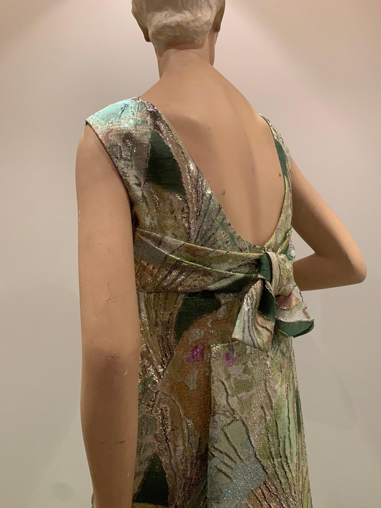 1960s Rochá  Butterfly Wing Patterned Lamé Brocade Empire Evening Gown W/ Bow For Sale 1