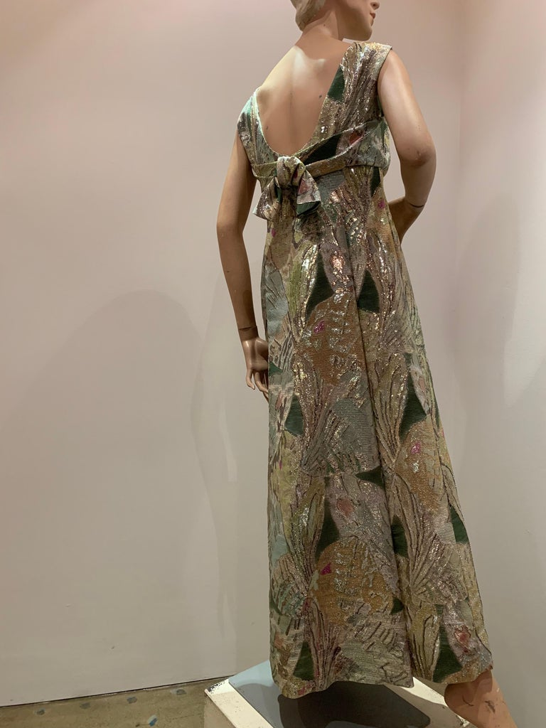 1960s Rochá  Butterfly Wing Patterned Lamé Brocade Empire Evening Gown W/ Bow For Sale 4