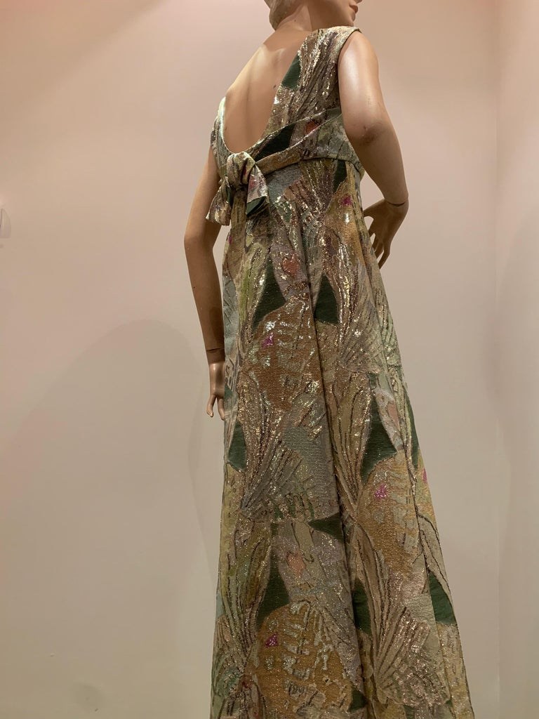 1960s Rochá  Butterfly Wing Patterned Lamé Brocade Empire Evening Gown W/ Bow For Sale 5