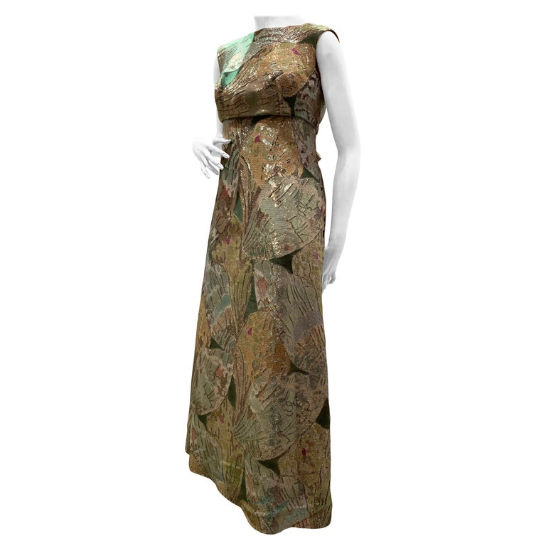 1960s Rochá  Butterfly Wing Patterned Lamé Brocade Empire Evening Gown W/ Bow For Sale