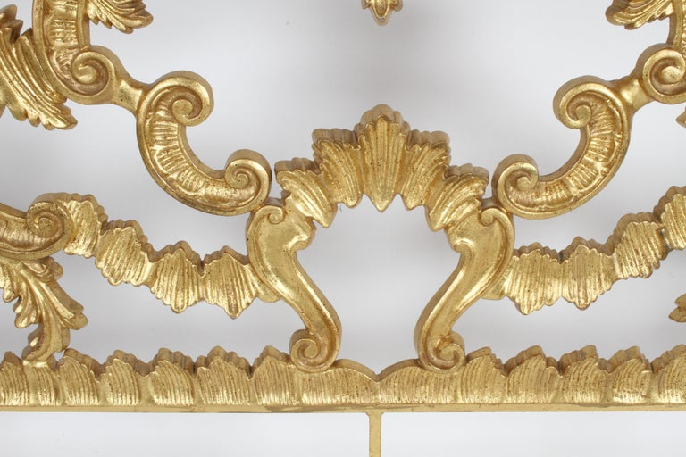1960s Rococo Style Italian Gold Gilt Metal King Headboard For Sale 5