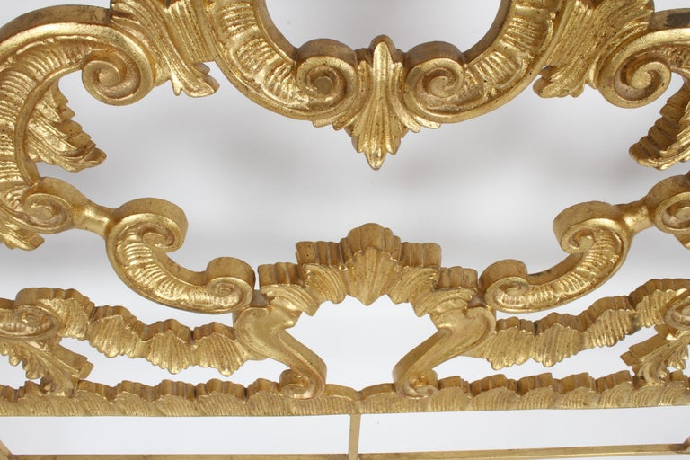 1960s Rococo Style Italian Gold Gilt Metal King Headboard For Sale 6