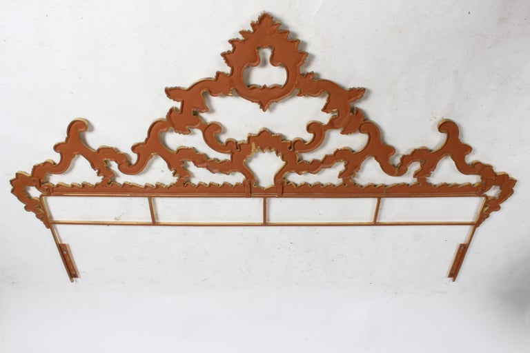 1960s Rococo Style Italian Gold Gilt Metal King Headboard For Sale 8