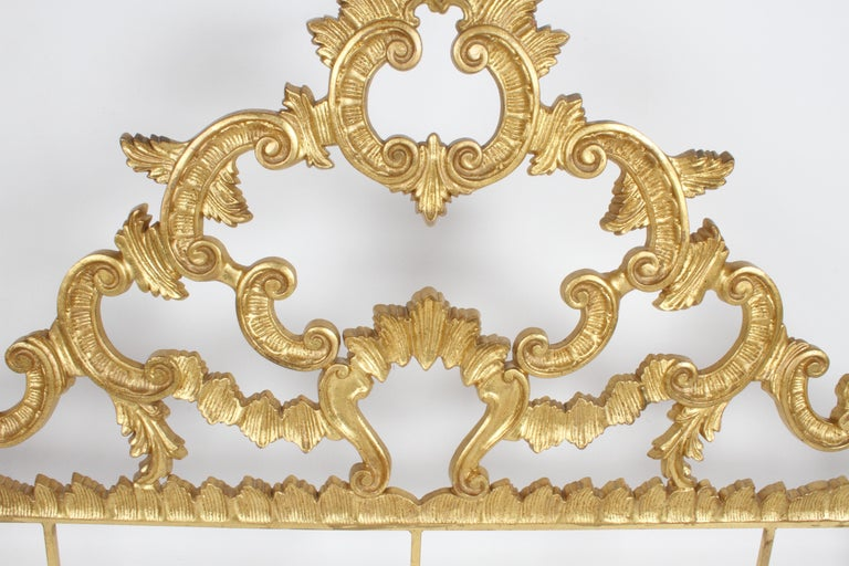 Hollywood Regency 1960s Rococo Style Italian Gold Gilt Metal King Headboard For Sale