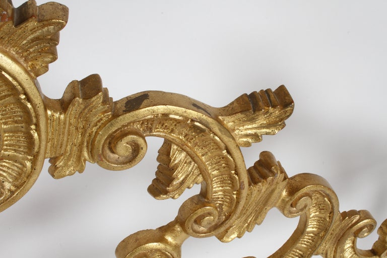 1960s Rococo Style Italian Gold Gilt Metal King Headboard For Sale 3