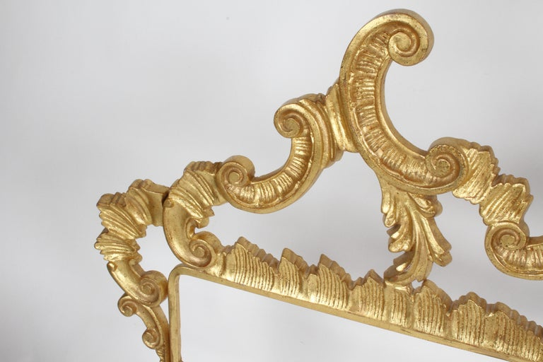 1960s Rococo Style Italian Gold Gilt Metal King Headboard For Sale 4