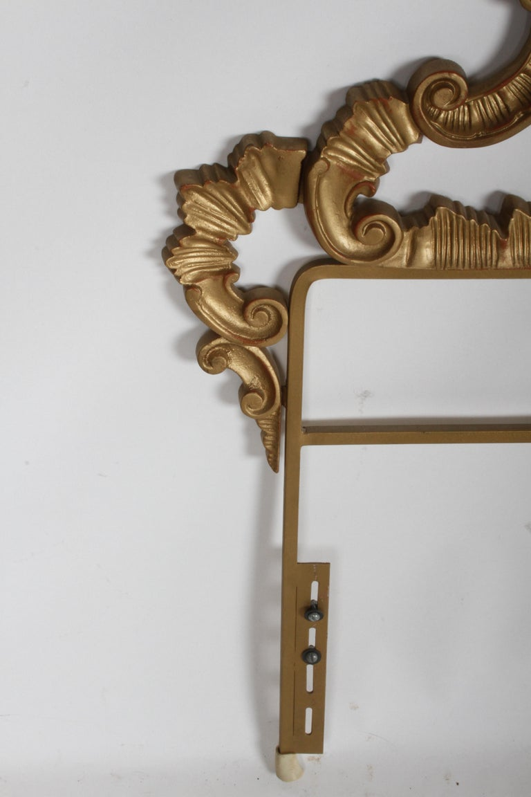 1960s Rococo Style Italian Gold Metal Full Size Headboard For Sale 4